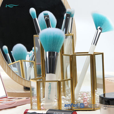 White Handle ISO9001 8pcs Travel Makeup Brush Set