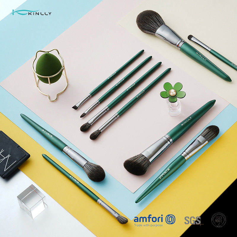 Green Wooden Handle 10piece Cosmetic Makeup Brush Set With Synthetic Hair